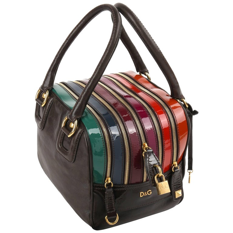 "D&G S/S 2008 DOLCE & GABBANA ""Lily"" Brown Multicolor Leather 5-Zip Satchel Purse"