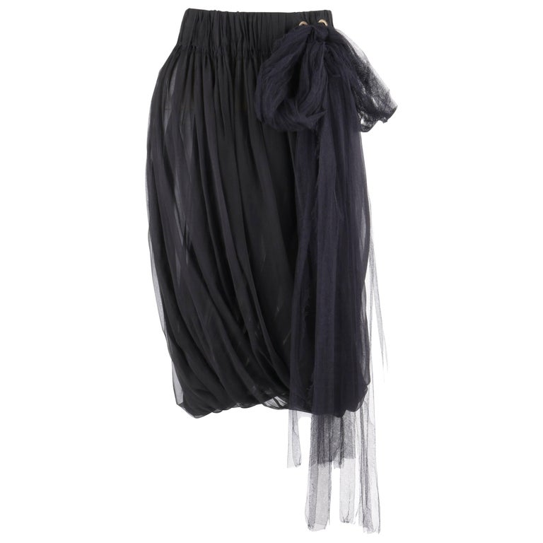 LANVIN S/S 2006 Black Semi Sheer Silk Chiffon Tulle Tie Pleated Bubble Skirt