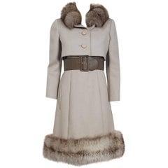 1962 Norman Norell Oatmeal Wool & Genuine Fox-Fur Belted Dress Jacket Ensemble