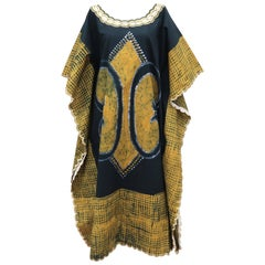 Blue and Yellow Vintage Batik Caftan Lounger