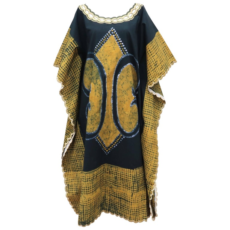 Blue and Yellow Vintage Batik Caftan Lounger For Sale