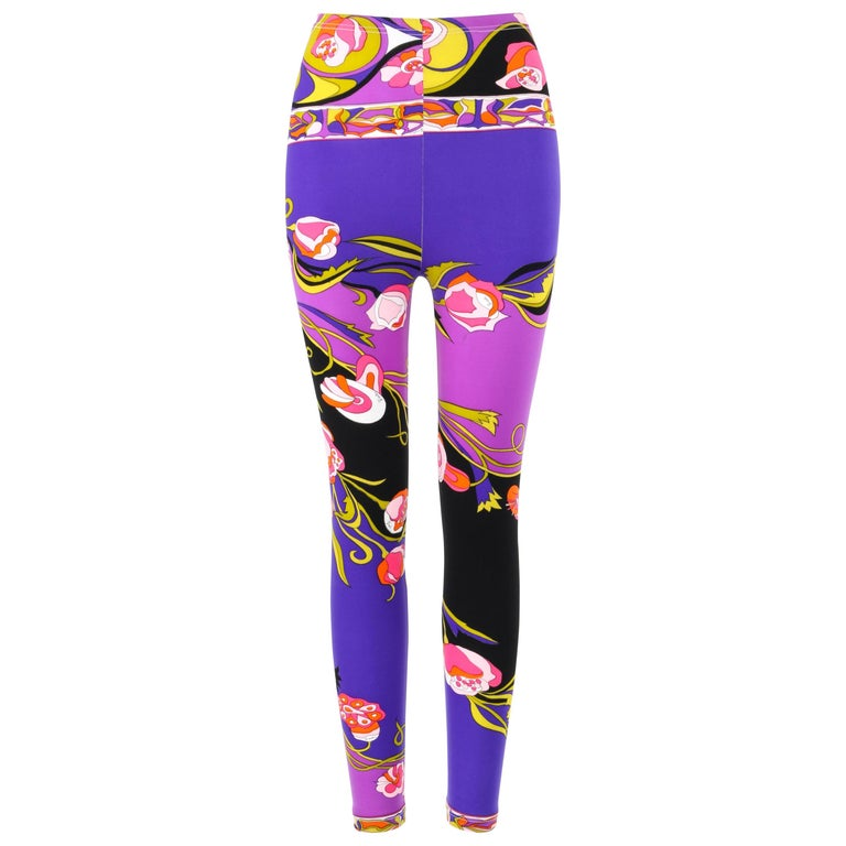 EMILIO PUCCI c.1970's Purple Multicolor Floral Signature Print Cropped Leggings