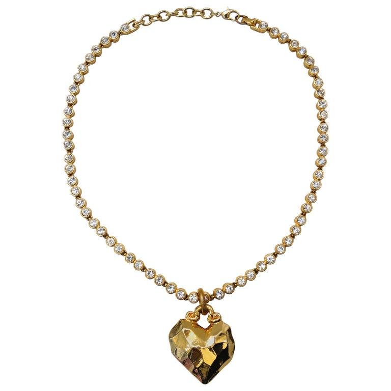 1980s Sonia Rykiel Hammered Heart Pendant Rhinestone Necklace  For Sale