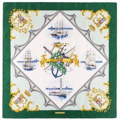 "HERMES c.1998 Hugo Grygkar ""Bordeaux Porte Oceane"" Nautical Print Silk Scarf NIB"