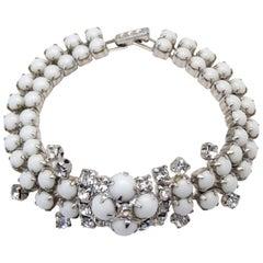 1960s White Rhinestone Cluster Bracelet