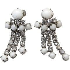 1960s White Rhinestone Dangle Screw Back Earrings