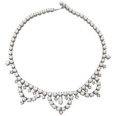 1960s White Rhinestone Choker Necklace