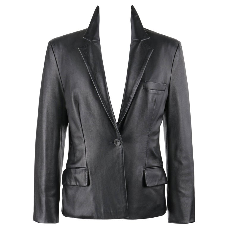 VERSUS Gianni Versace c.1990's Black Leather Single Button Blazer Jacket
