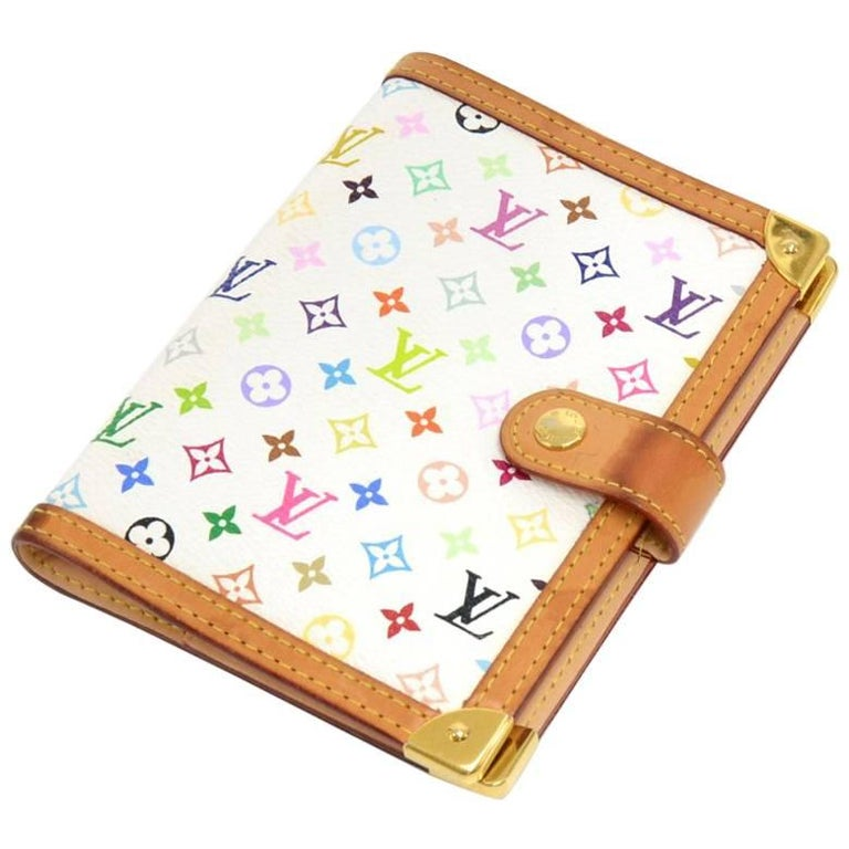 Louis Vuitton Agenda PM White Multicolor Monogram Canvas Agenda Cover  For Sale