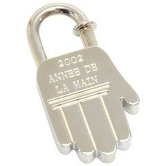 Hermes Annee De La Main Silver Tone Hand Motif Cadena Lock Charm - 2002 Limited