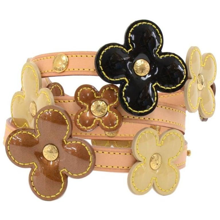 Louis Vuitton Flower Motif Belt In Multicolor Vernis Leather x Cowhide Leather