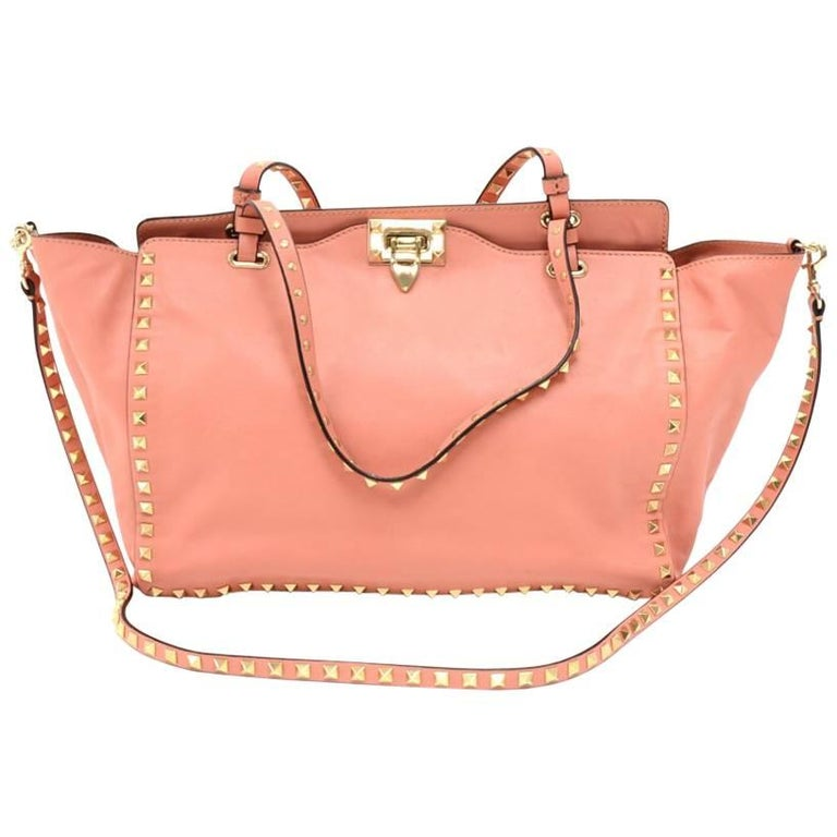 Valentino Pink Rockstud Medium Tote Bag