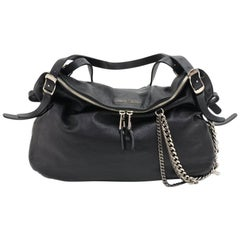 Jimmy Choo Blake Biker Black Lambskin Leather Shoulder Bag