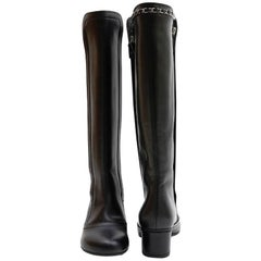 CHANEL Boots in Black Smooth Lamb Leather Size 37FR