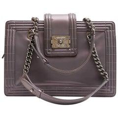 "Chanel ""Boy"" Model Tote Bag in Semi-Matte Gray Patent Leather"
