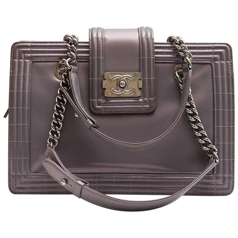 "Chanel ""Boy"" Model Tote Bag in Semi-Matte Gray Patent Leather"