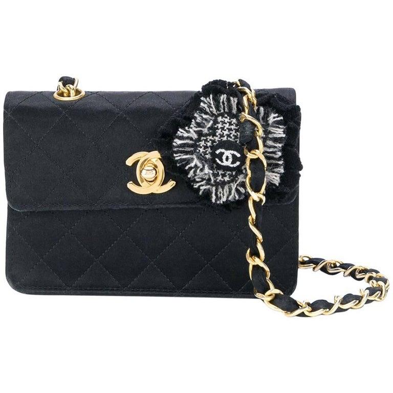 Chanel Black Silk Vintage Bag, 1990s For Sale