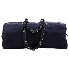 CHANEL Tote Bag in Navy Blue Quilted Suede