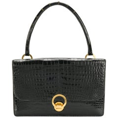 Hermès Black Crocodile Leather Vintage Bag, 1970s