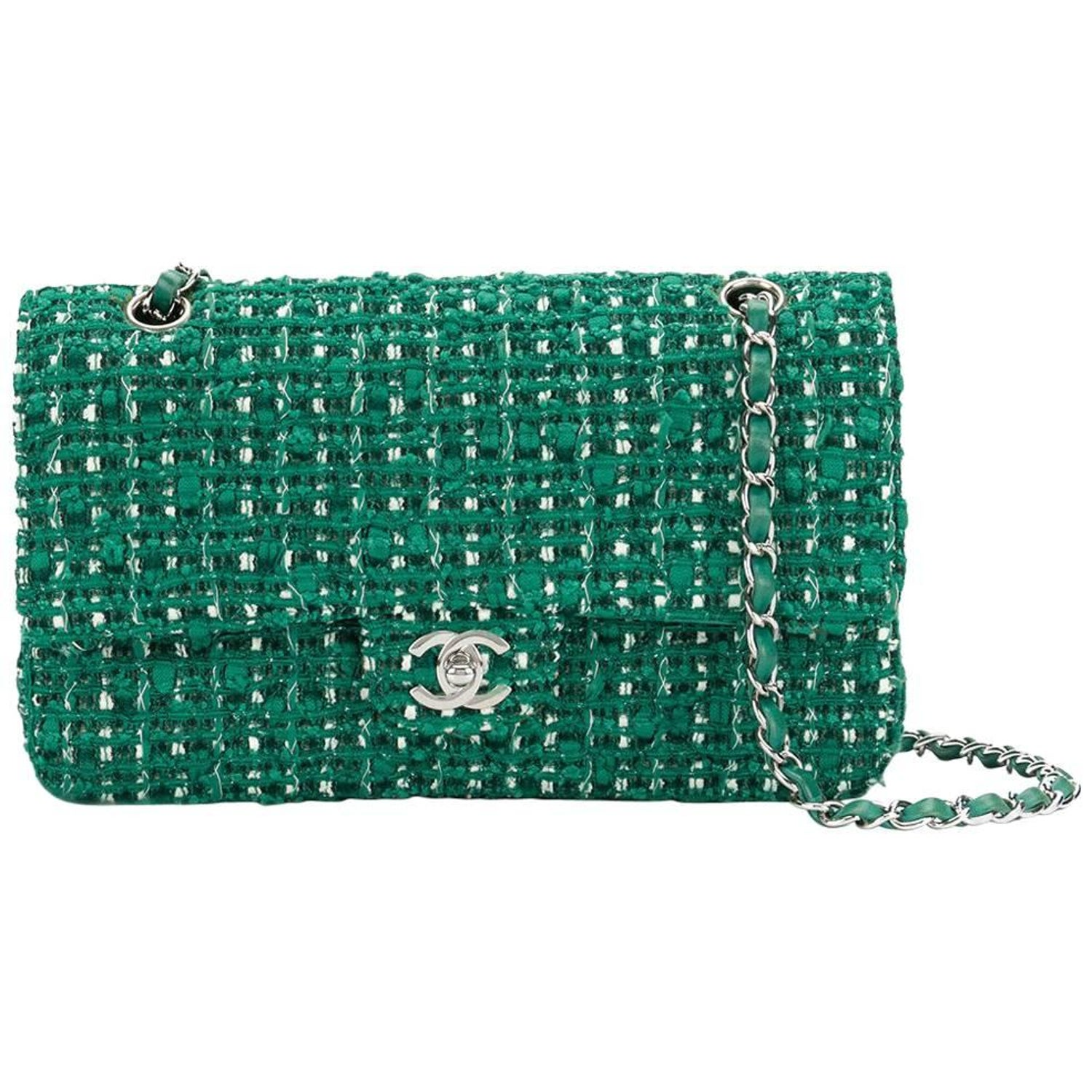 0724559c89a3f2 Chanel Green Tweed Vintage Bag, 2000s at 1stdibs