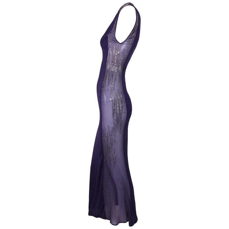 C. 2001 Atelier Versace Sheer Purple Beaded Gown Dress