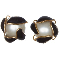 Chanel 1990s Pearl Earrings with Black Gripoix Glass Leaf Detail