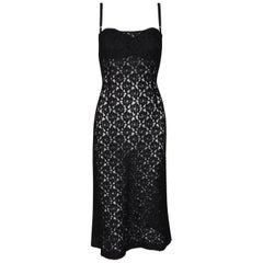 1997 Dolce & Gabbana Sheer Black Fishnet & Lace Bra Midi Dress
