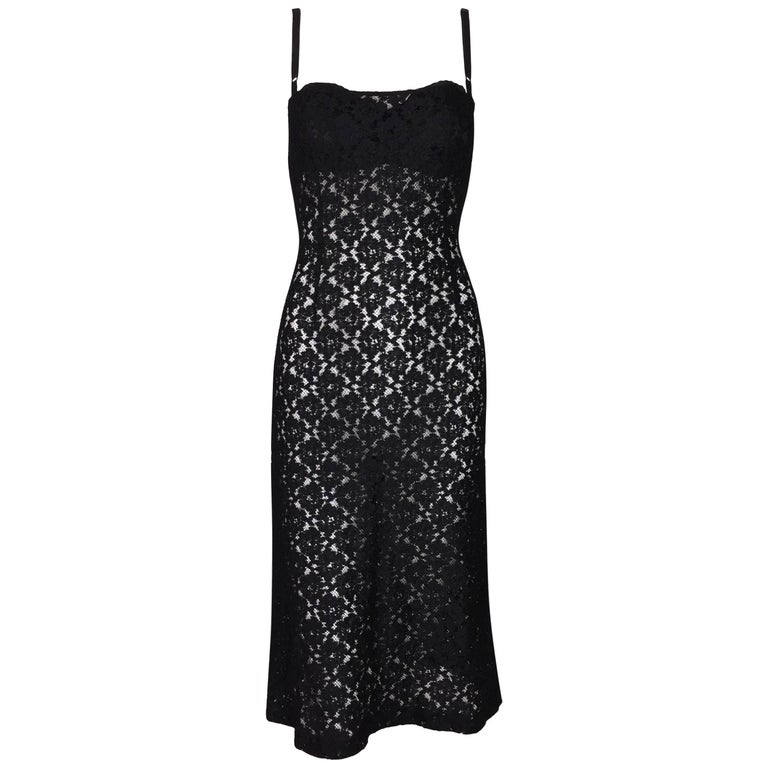 1997 Dolce & Gabbana Sheer Black Fishnet & Lace Bra Midi Dress