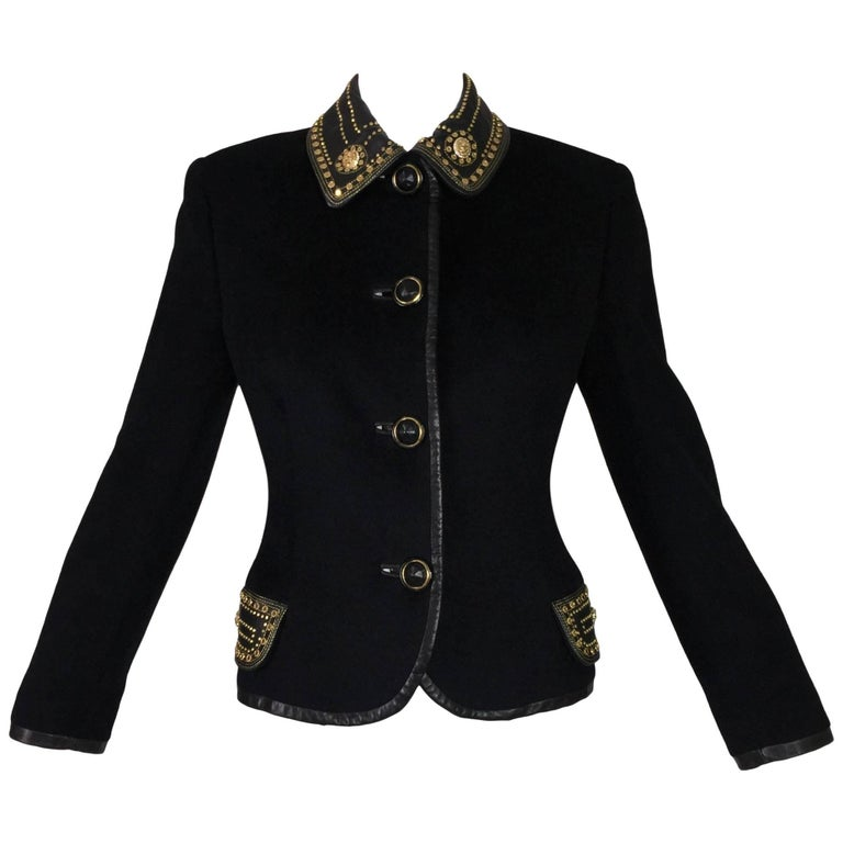 F/W 1992 Gianni Versace Couture Studded Bondage Black Fitted Wool Jacket 40