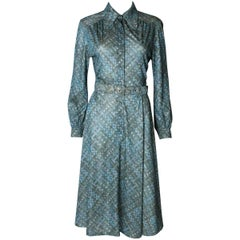 A vintage 1970s green printed day dress by Carnegie London
