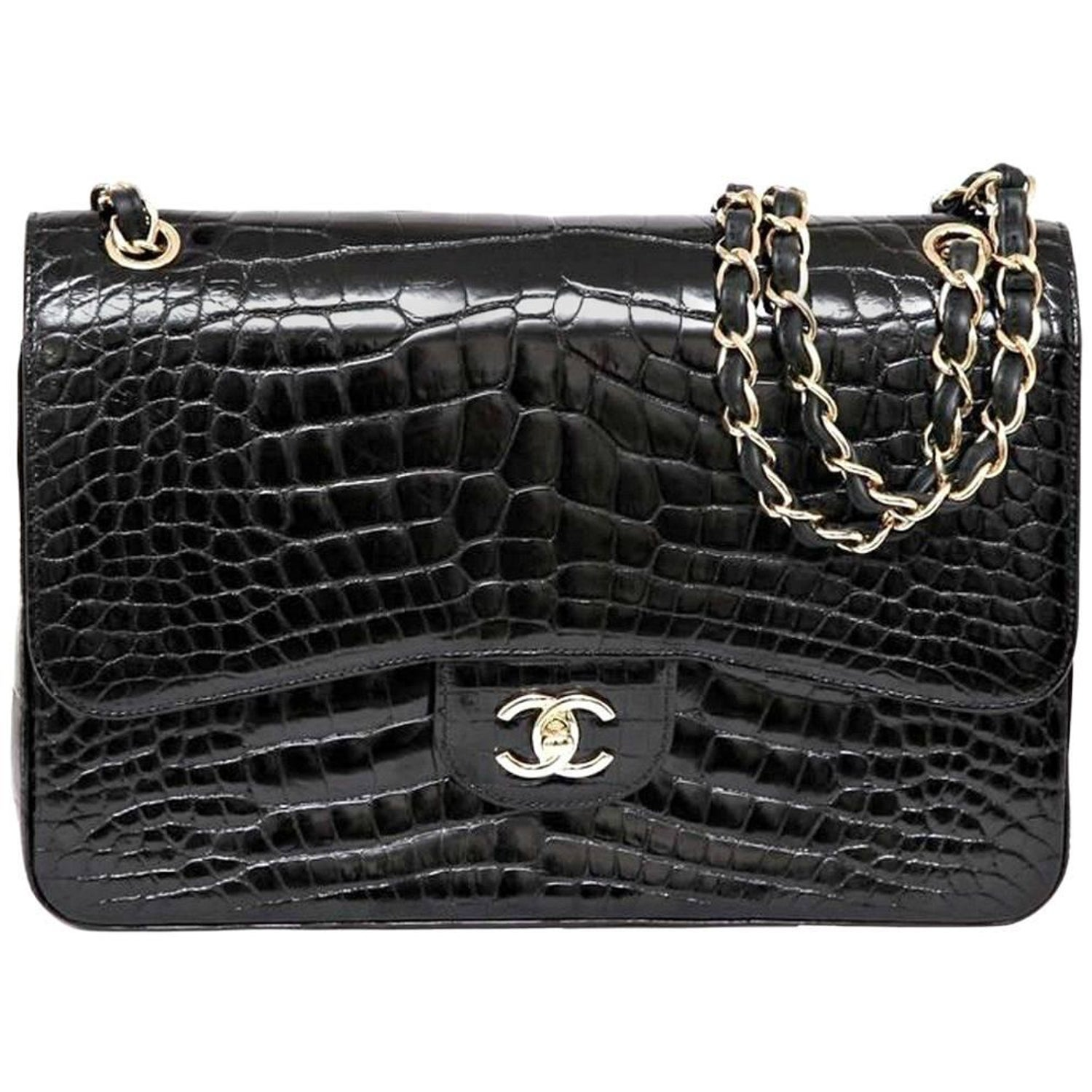 05636d245173 Chanel 12A Black Alligator Classic Jumbo Gold Hardware Double Flap Bag at  1stdibs