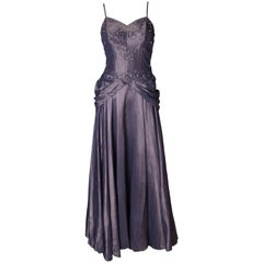 A vintage 1940s lilac satin and diamante Robert Goldberg Evening Gown