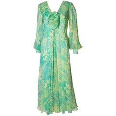 A vintage 1970s green floral print silk dress by Alison Rodger
