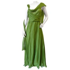 Alberta Ferreti Draped Green Chiffon Sash Dress