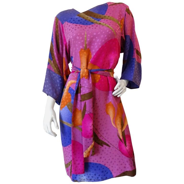 1980s Flora Kung Floral Silk Dress