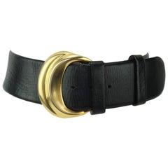 Robert Lee Morris for Donna Karan Gold & Black Leather Belt