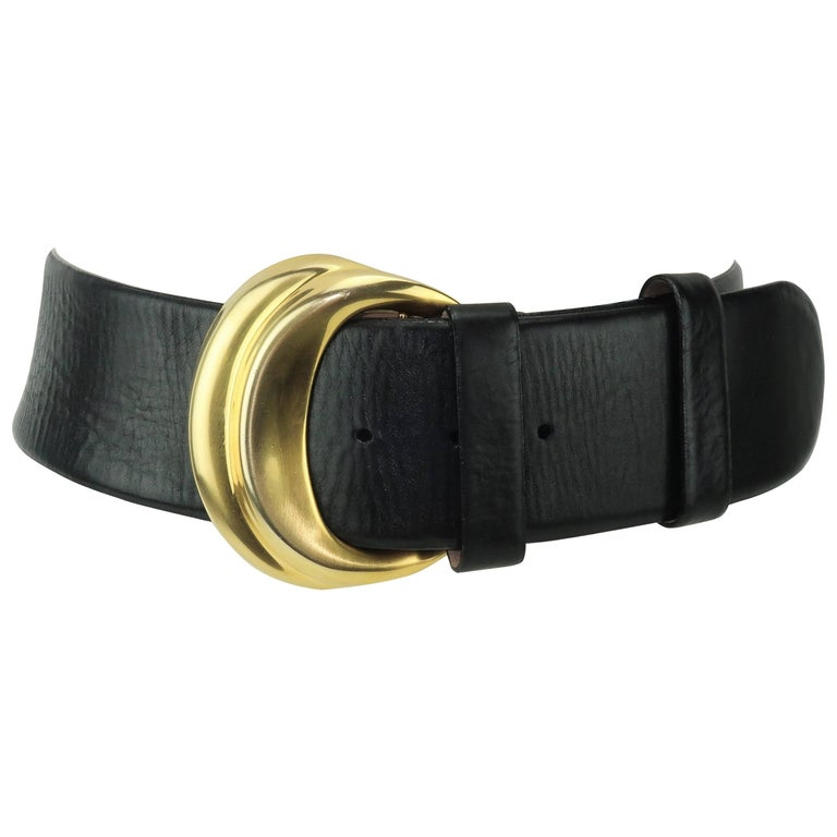 Robert Lee Morris for Donna Karan Gold & Black Leather Belt