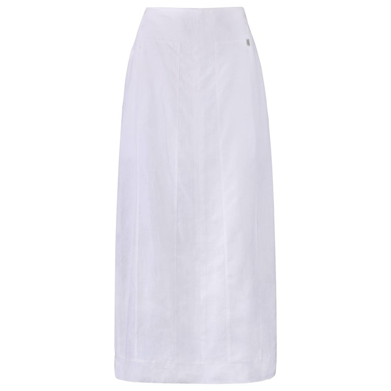 CHANEL S/S 1999 White Linen Floor Length Classic Maxi Skirt NWT