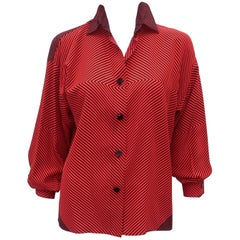 1980's Genny Silk Red & Black Op Art Blouse