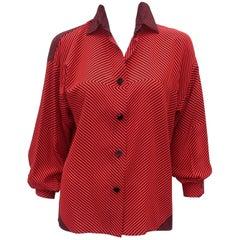 1980's Genny Silk Red & Black Op Art Blouse