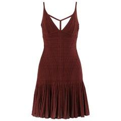 "HERVE LEGER A/W 2012 ""Avi"" Burgundy Pleated Bandage Knit Cocktail Dress NWT"