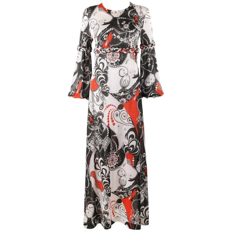 16253d38ad1 EMILIA BELLINI c.1960 s Op Art Signature Print Silk Metallic Knit Maxi Dress  For Sale