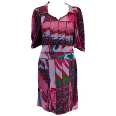 Fabulous Fendi Multi Color Pleated Dress with Tan Leather Trim