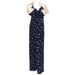 Celestial Chanel 4 Piece Stars & Moon Ensemble in Ivory and Navy Blue