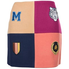 Stella McCartney Women's Colorblock Wool Heraldic Patch Skirt