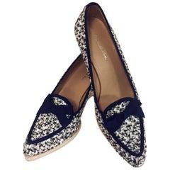 Remarkable Oscar de la Renta Black & White Tweed Blue Grosgrain Trim & Bow Shoes