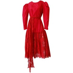 Cherry Red Lace Puff Sleeve Maxi Dress, 1980s