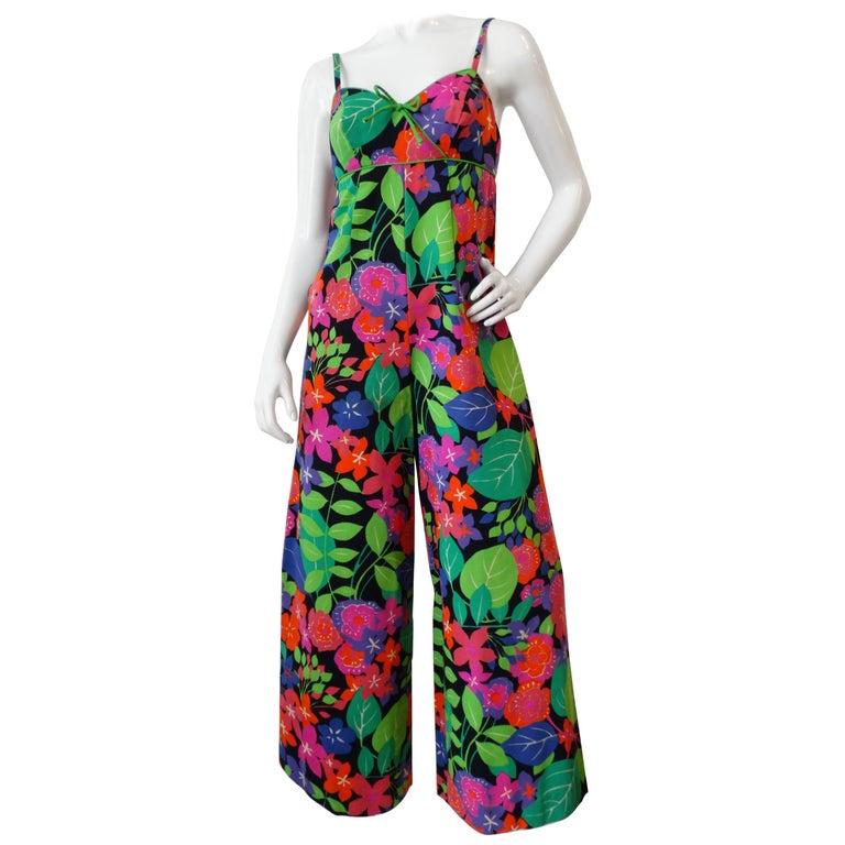 1960s Technicolor Floral Wide Leg Jumpsuit  For Sale