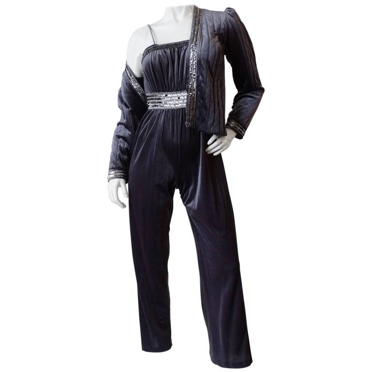 1980s Tom Bezduda Grey Velvet Jumpsuit & Jacket Set