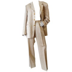 Gianni Versace Couture Silk Greek Key Printed Tan Suit, 1980s